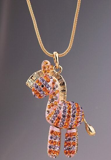 Gold Diamond Horse Chain Necklace