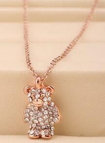 Gold Diamond Bear Necklace
