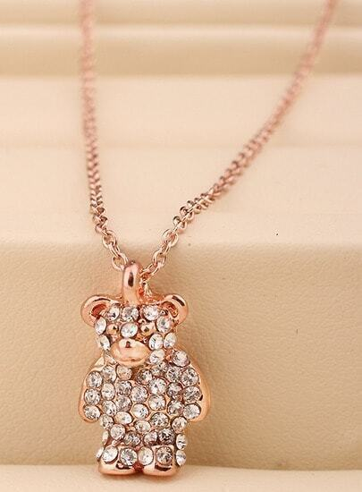 Gold Diamond Bear Necklace