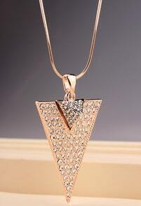 Gold Diamond Triangle Necklace