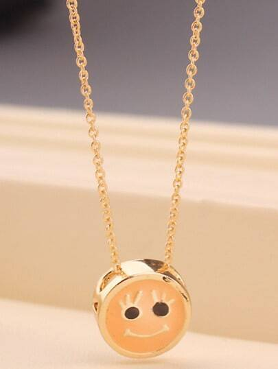 Gold Glaze Smiley Chain Necklace
