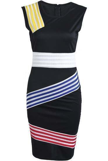 Black Round Neck Sleeveless Striped Bodycon Dress