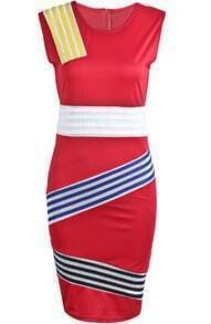 Red Round Neck Sleeveless Striped Bodycon Dress