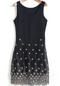 Black Round Neck Sleeveless Embroidered Chiffon Dress
