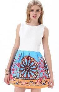 White Blue Sleeveless Vintage Wheel Print Dress