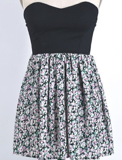 Black Strapless Vintage Floral Pleated Dress