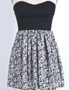 Black Strapless Vintage Floral Pleated Dress