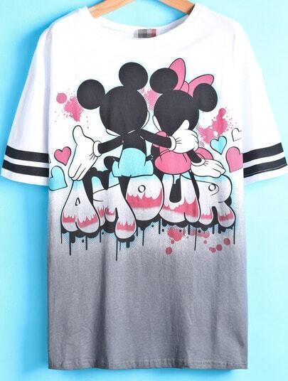 White Short Sleeve Gradients Mickey Print T-Shirt