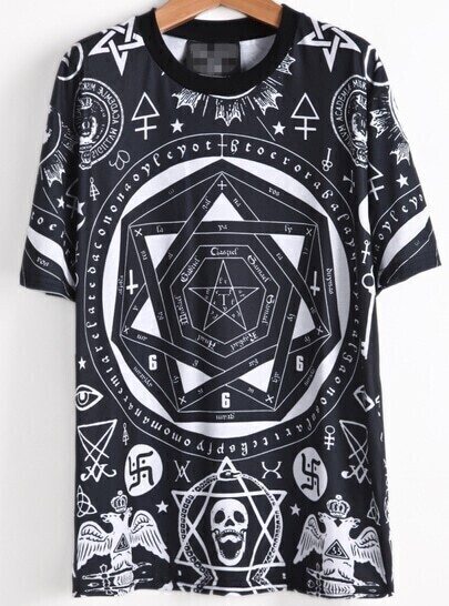 Black Short Sleeve Geometric Skull Print T-Shirt -SheIn ...
