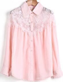 Pink Long Sleeve Contrast Lace Chiffon Blouse