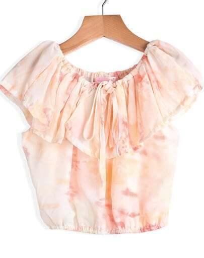 Pink Ruffle Floral Crop Chiffon Blouse