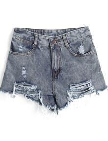 Blue Pockets Ripped Denim Shorts