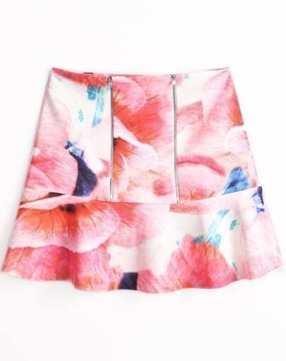 Falda floral volante cremallera-rojo