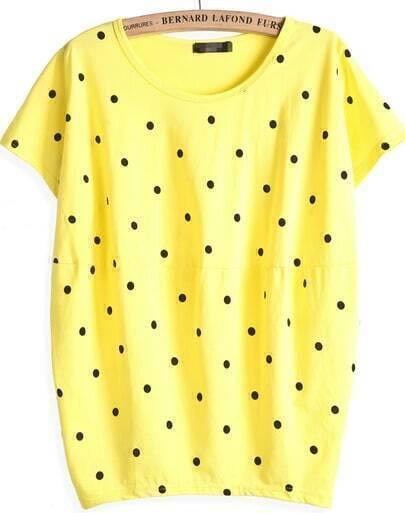 Yellow Short Sleeve Polka Dot Loose T-Shirt