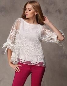White Three Quarter Sleeve Embroidery Blouse
