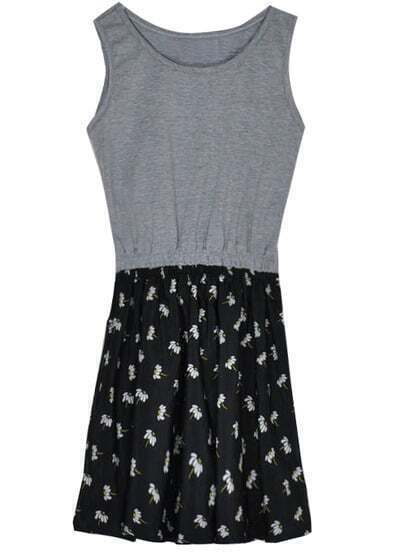 Grey Sleeveless Contrast Black Chiffon Floal Pattern Dress