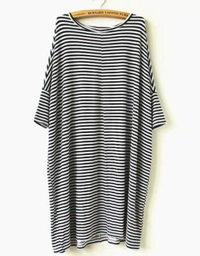 Black White Striped Loose Dress