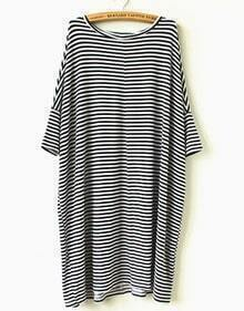 Black White Striped Loose Dress