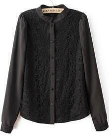 Black Stand Collar Long Sleeve Lace Blouse