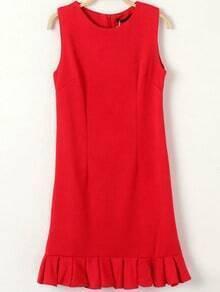 Red Round Neck Sleeveless Ruffle Dress