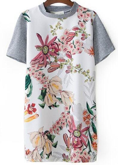 Grey Short Sleeve Digital Floral Loose Dress