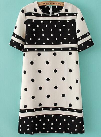 Black White Short Sleeve Polka Dot Straight Dress