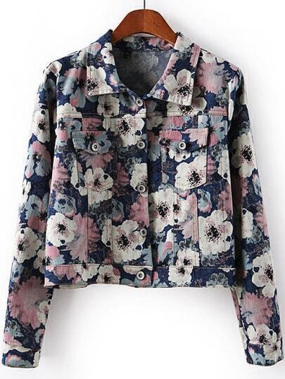 Blue Lapel Long Sleeve Floral Crop Jacket