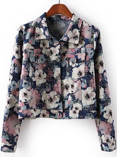 Blue Lapel Long Sleeve Floral Crop Jacket