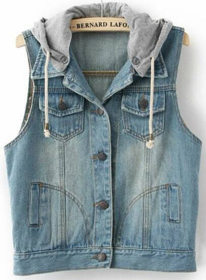 Blue Hooded Sleeveless Bleached Denim Jacket