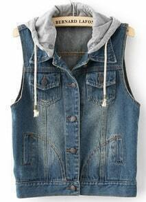 Navy Hooded Sleeveless Bleached Denim Jacket