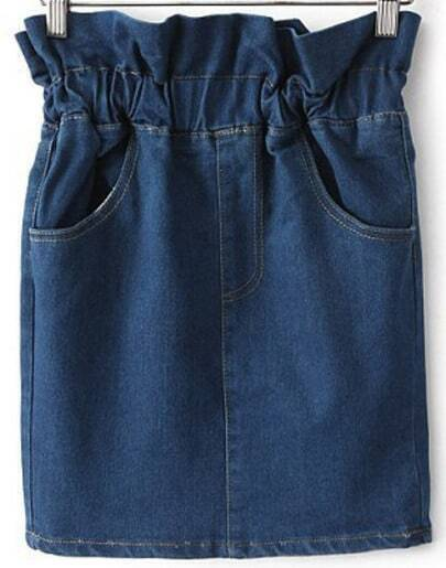 Navy Elastic Waist Pockets Denim Skirt