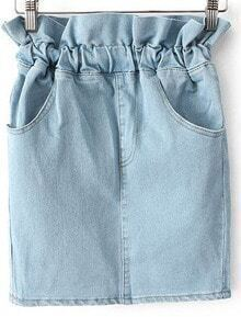 Blue Elastic Waist Pockets Denim Skirt