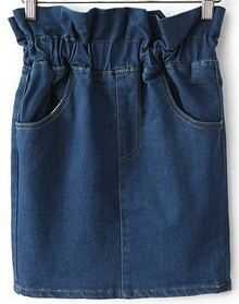 Navy Elastic Waist Pockets Denim Skirt