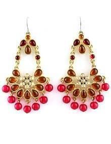 Red Bead Tassel Gold Dangle Earrings