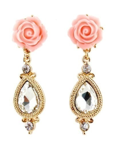 Gold Flower Diamond Drop Earrings