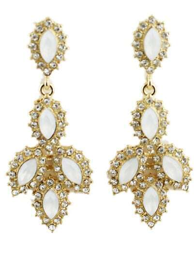 White Gemstone Gold Diamond Earrings