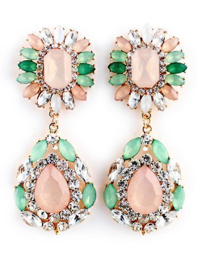 Green Pink Gemstone Gold Diamond Earrings