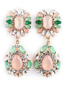Green Pink Gemstone Gold Diamond Earrings