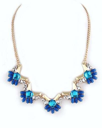 Blue Gemstone Gold Geometric Necklace