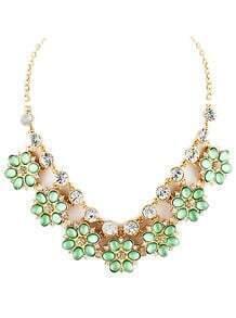 Green Gemstone Gold Diamond Flower Necklace