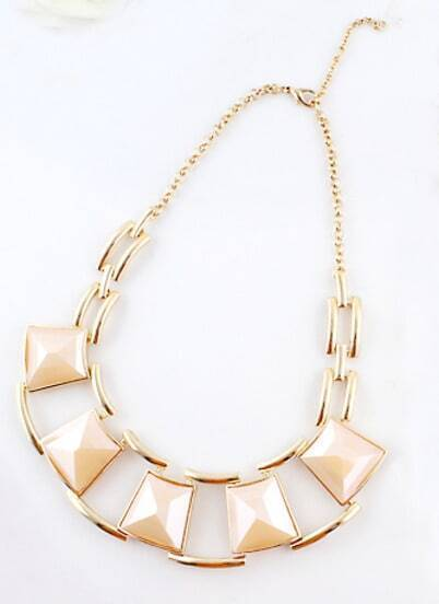 Apricot Geometric Gemstone Gold Chain Necklace