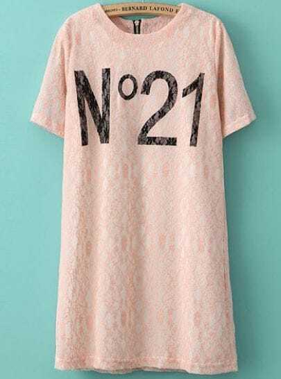 Pink Short Sleeve No. 22 Print Lace Dress