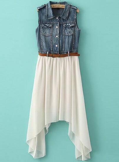 White Contrast Denim Asymmetrical Chiffon Dress