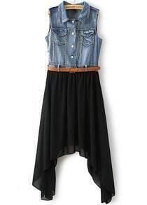 Black Contrast Denim Asymmetrical Chiffon Dress