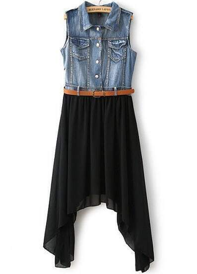 Black Contrast Denim Asymmetrical Chiffon Dress