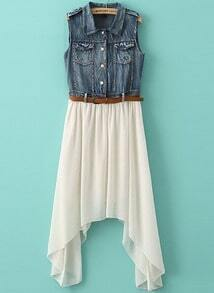 White Contrast Denim Asymmetrical Chiffon Dress