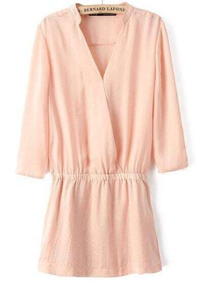 Pink V Neck Elastic Waist Chiffon Dress