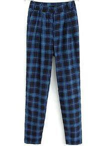 Blue High Waist Plaid Straight Pant