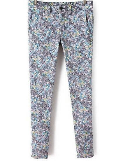 Blue Casual Floral Pencil Pant