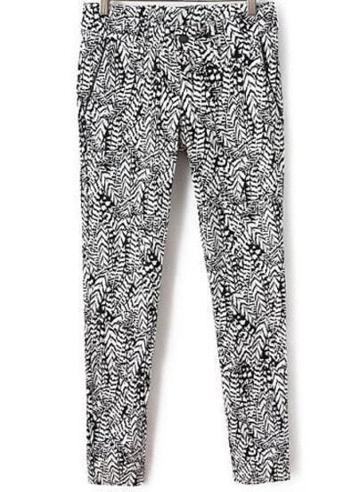 Black Casual Leaves Print Loose Pant